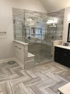 Lakeway Bath Remodel Herringbone tile