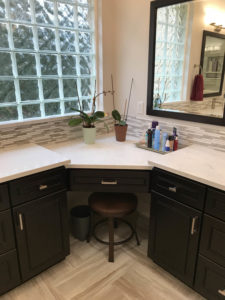 Lakeway Bath Remodel knee hole cabinet
